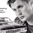 Art Drawing - Jensen Ackles Portrait #22 - Dean Winchester & the Impala - Supernatural